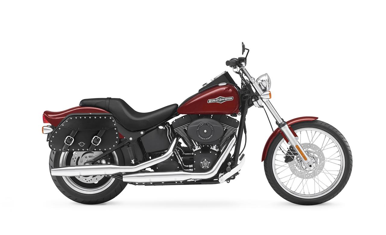 Viking Pinnacle Studded Motorcycle Saddlebags For Harley Softail Night Train FXSTB Bag On Bike View