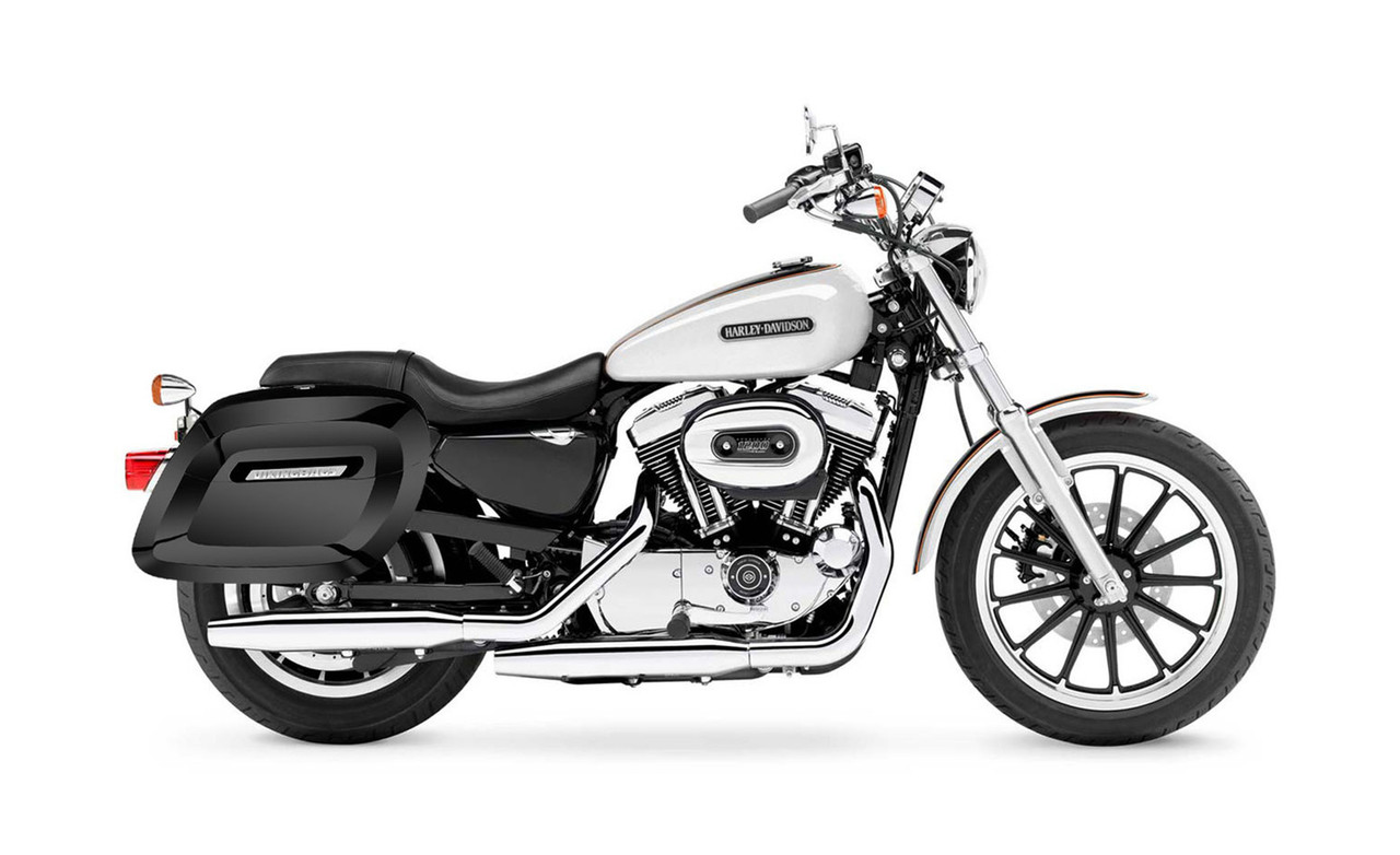 Viking Lamellar Large Spear Shock Cutout Hard Saddlebags For Harley Sportster 1200 Low XL1200L XL1200L Bag on Bike View