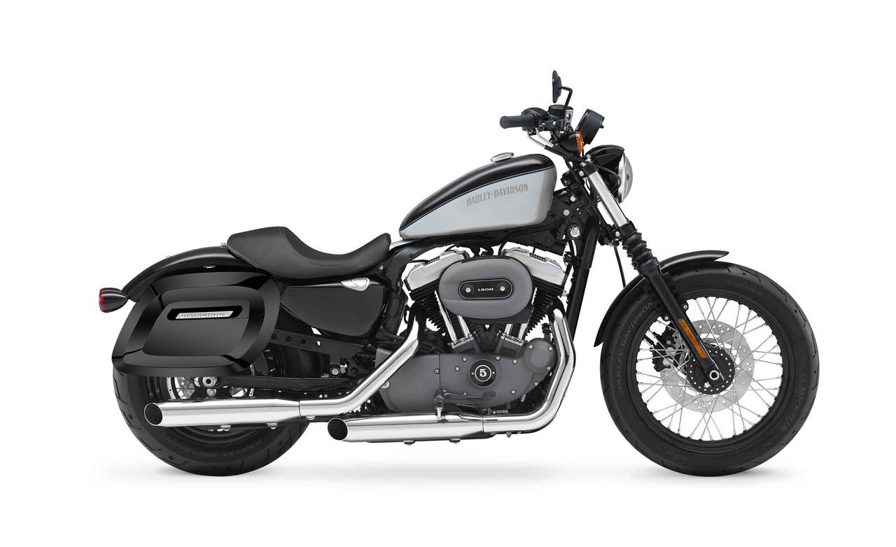 Viking Lamellar Large Spear Shock Cutout Hard Saddlebags For Harley Sportster 1200 Nightster XL1200N Bag on bike view