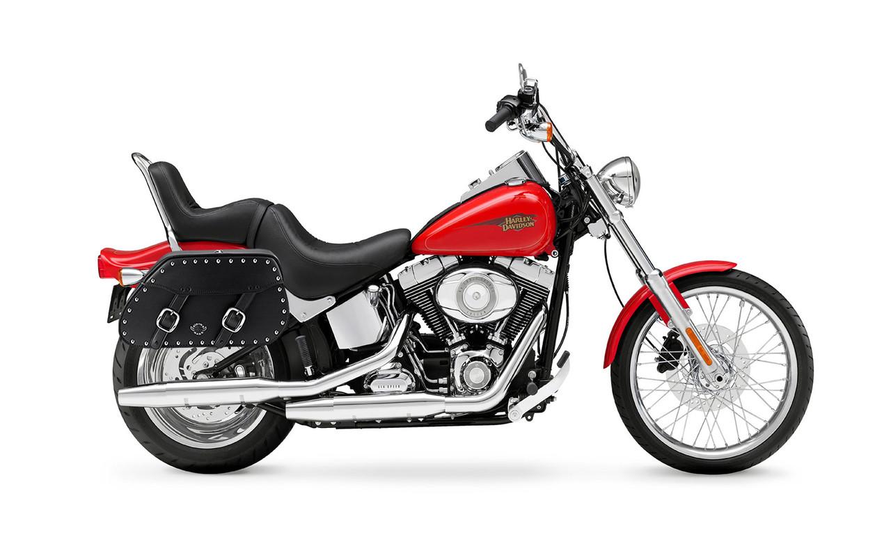 Viking Pinnacle Leather Studded Large Motorcycle Saddlebags For Harley Softail Custom FXSTC Bag on Bike