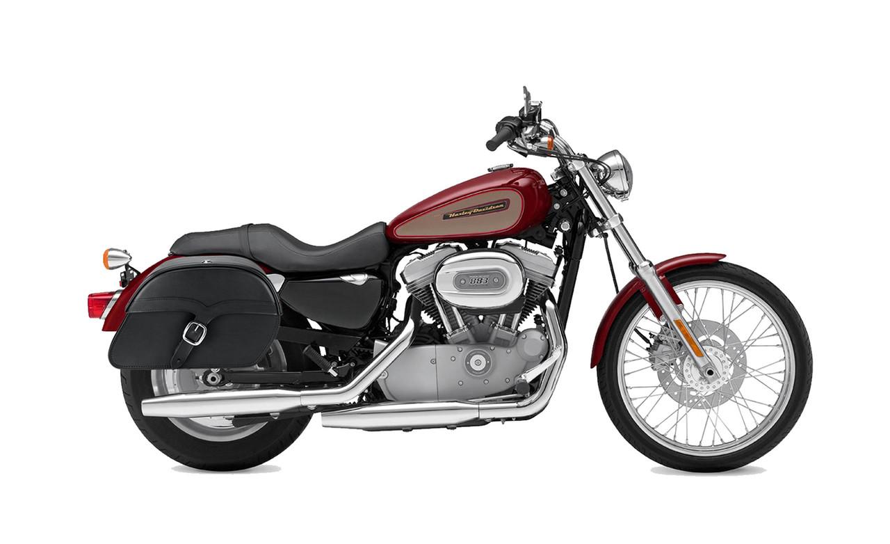 Viking Single Strap Large Shock Cutout Slanted Motorcycle Saddlebags For Harley Sportster 883 Custom XL883C Bag on Bike View