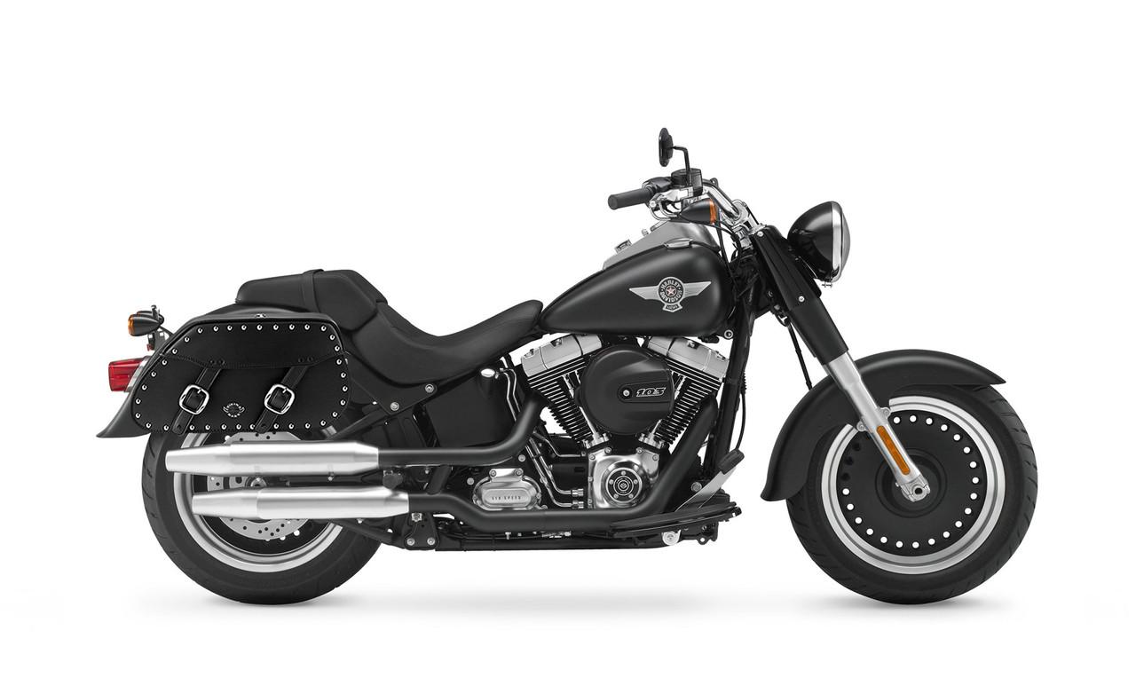 Viking Pinnacle Studded Large Motorcycle Saddlebags For Harley Softail Fat Boy Lo Bag on Bike View