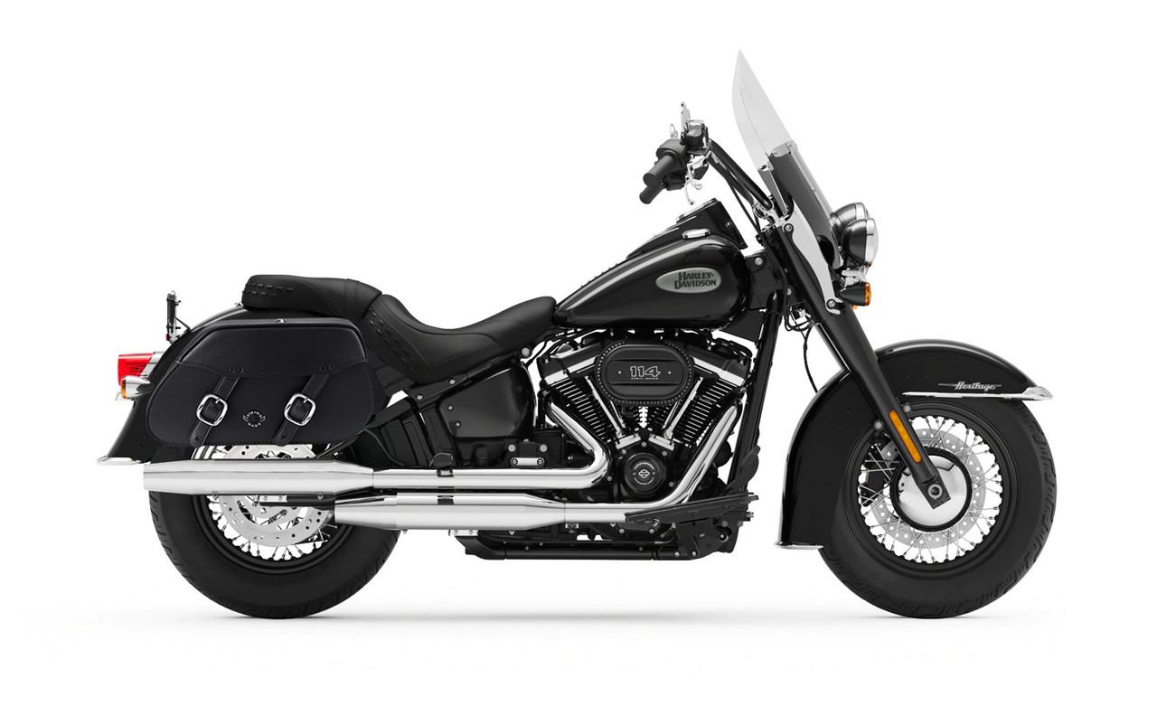 Viking Pinnacle Large Motorcycle Saddlebags For Harley Softail Heritage FLSTC Bag On Bike View
