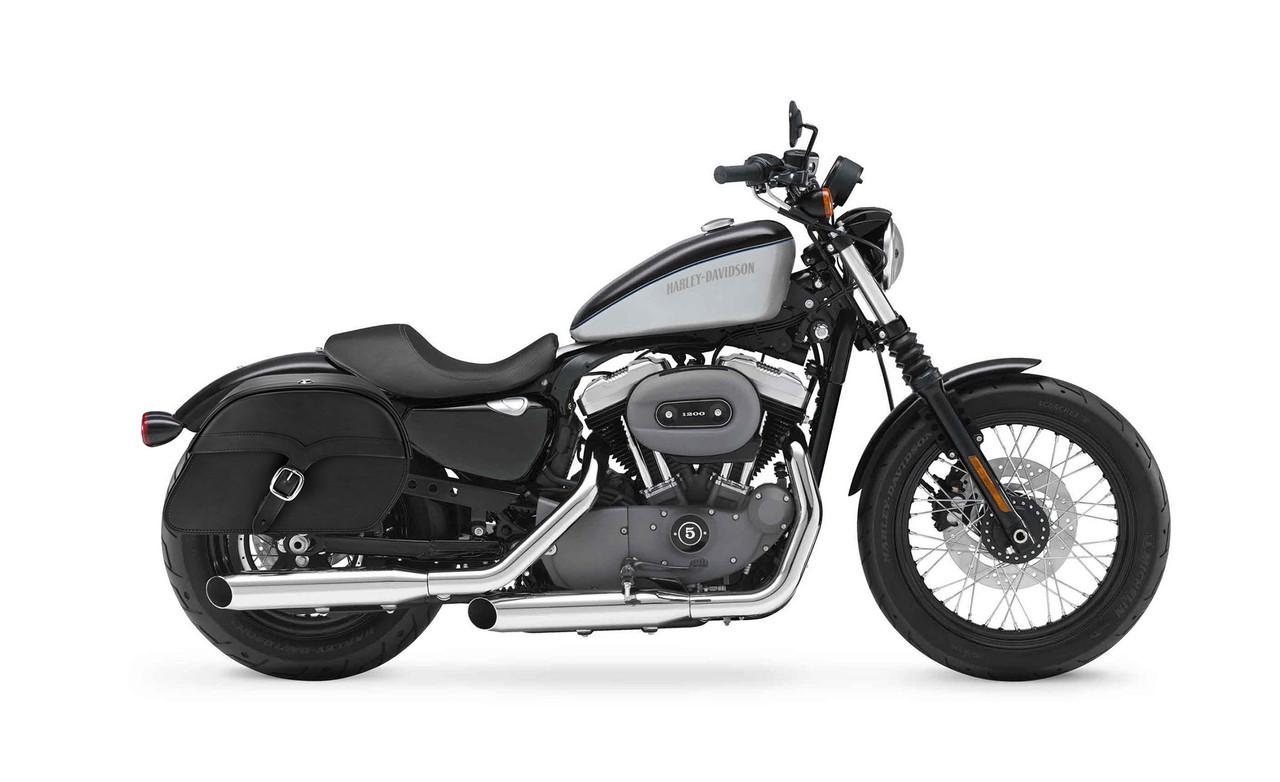 Viking Large Single Strap Shock Cutout Slanted Motorcycle Saddlebags For Harley Sportster 1200 Nightster XL1200N Bag on bike view