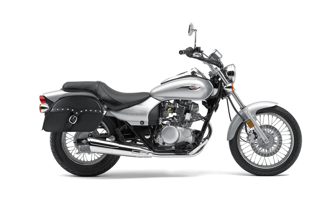 Kawasaki Eliminator 125 Slanted Studded SS Medium Motorcycle Saddlebags Bags on Bike View