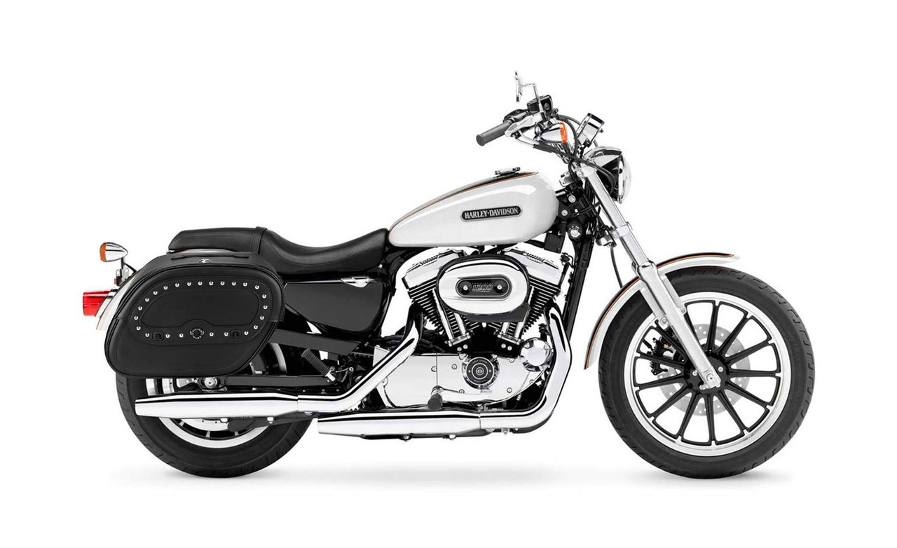 Viking Spear Large Shock Cutout Studded Motorcycle Saddlebags For Harley Sportster 1200 Low XL1200L Bag on Bike View