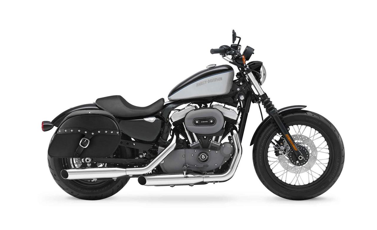 Viking Large SS Shock Cutout Slanted Studded Motorcycle Saddlebags For Harley Sportster 1200 Nightste XL1200Nr Bag on bike view