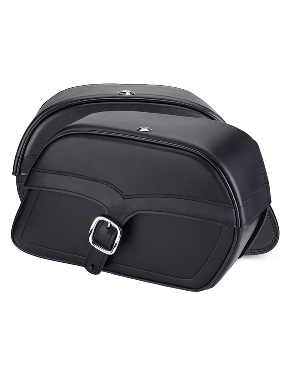Viking Large Single Strap Shock Cutout Slanted Motorcycle Saddlebags For Harley Sportster 1200 Low XL1200L Both Bags View