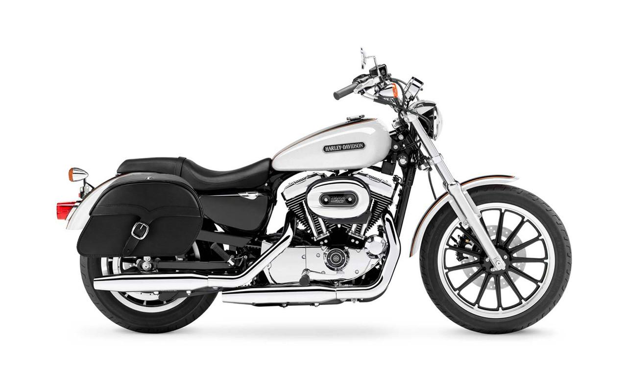 Viking Large Single Strap Shock Cutout Slanted Motorcycle Saddlebags For Harley Sportster 1200 Low XL1200L Bag on Bike View