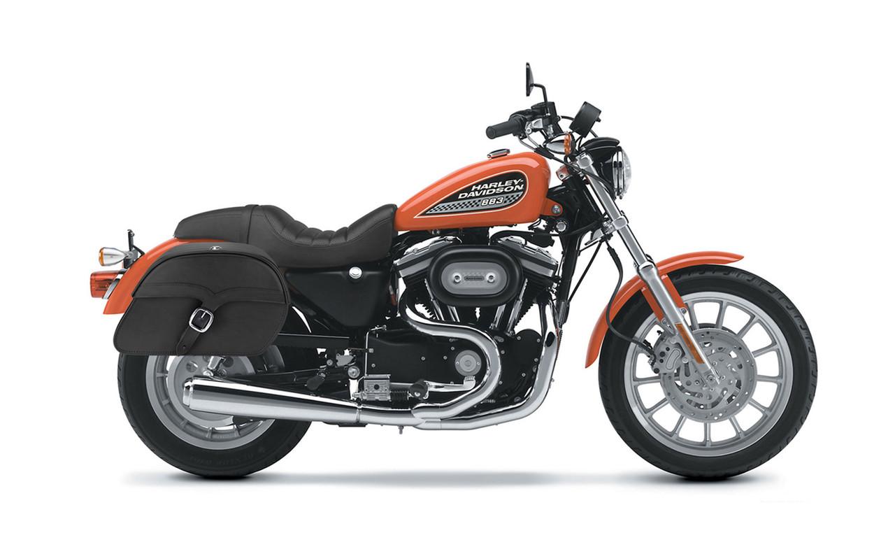 Viking Single Strap Large Shock Cutout Slanted Motorcycle Saddlebags For Harley Sportster 883 Low XL883L Bag on Bike View