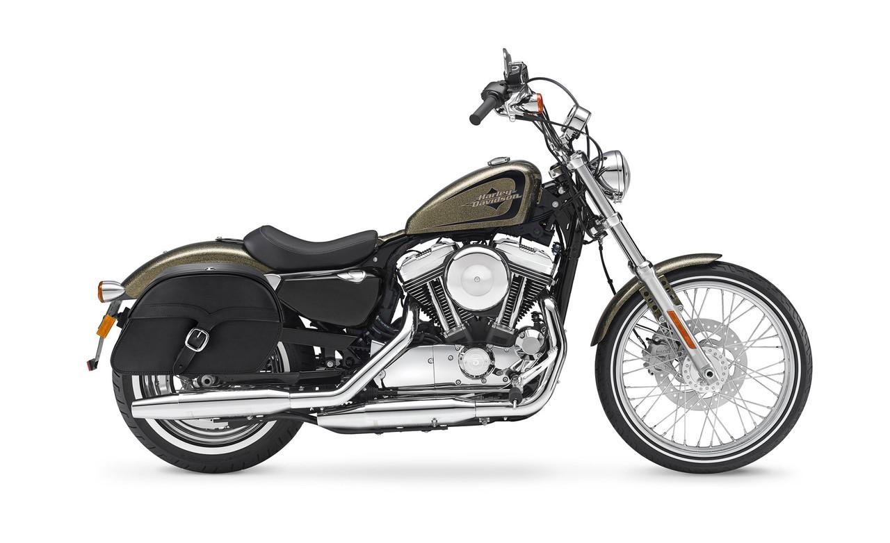 Viking Shock Cutout Single Strap Large Slanted Large Motorcycle Saddlebags For Harley Sportster Seventy Two 72 Bag on bike view
