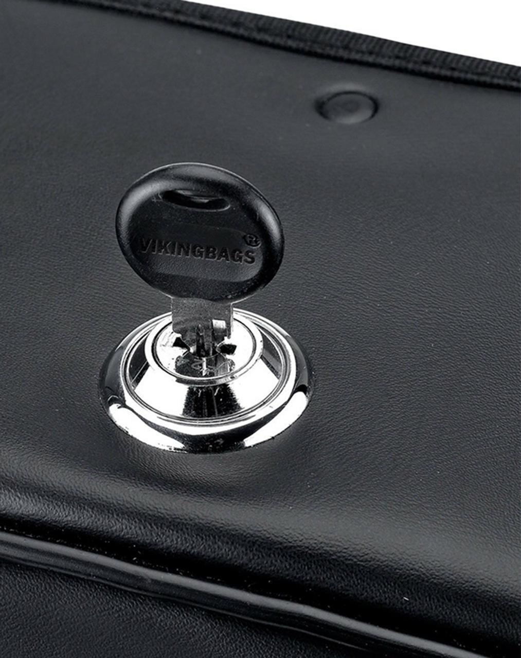 Honda 750 Shadow Phantom Medium Charger Slanted Motorcycle Saddlebags lock key view