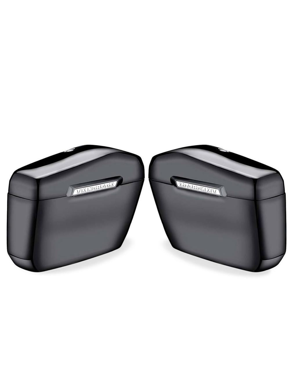 Honda 600 Shadow VLX Viking Lamellar Large Black Hard Saddlebags both bags view