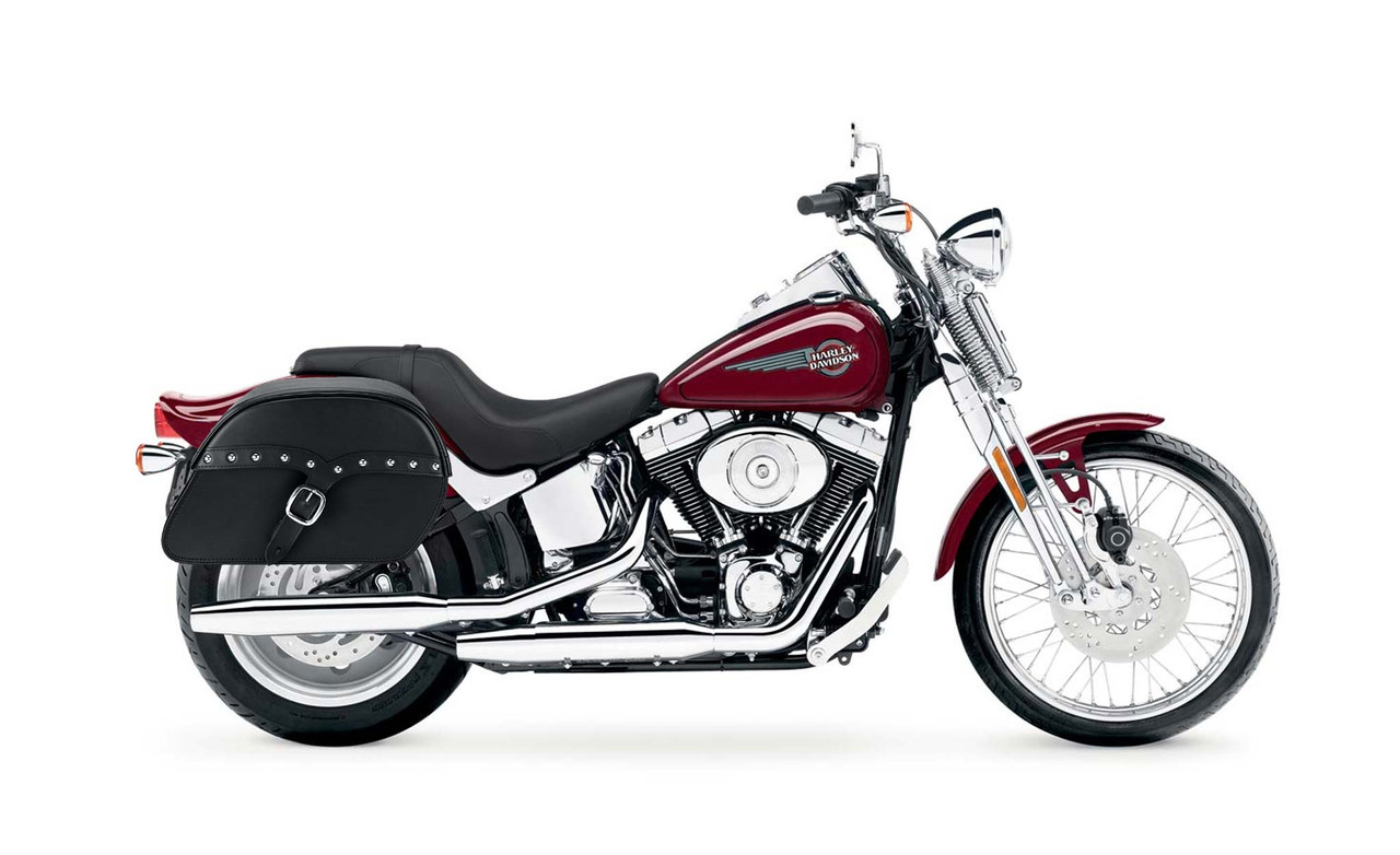 Viking SS Slant Studded Large Motorcycle Saddlebags For Harley Softail Springer FXSTS bag on bike view