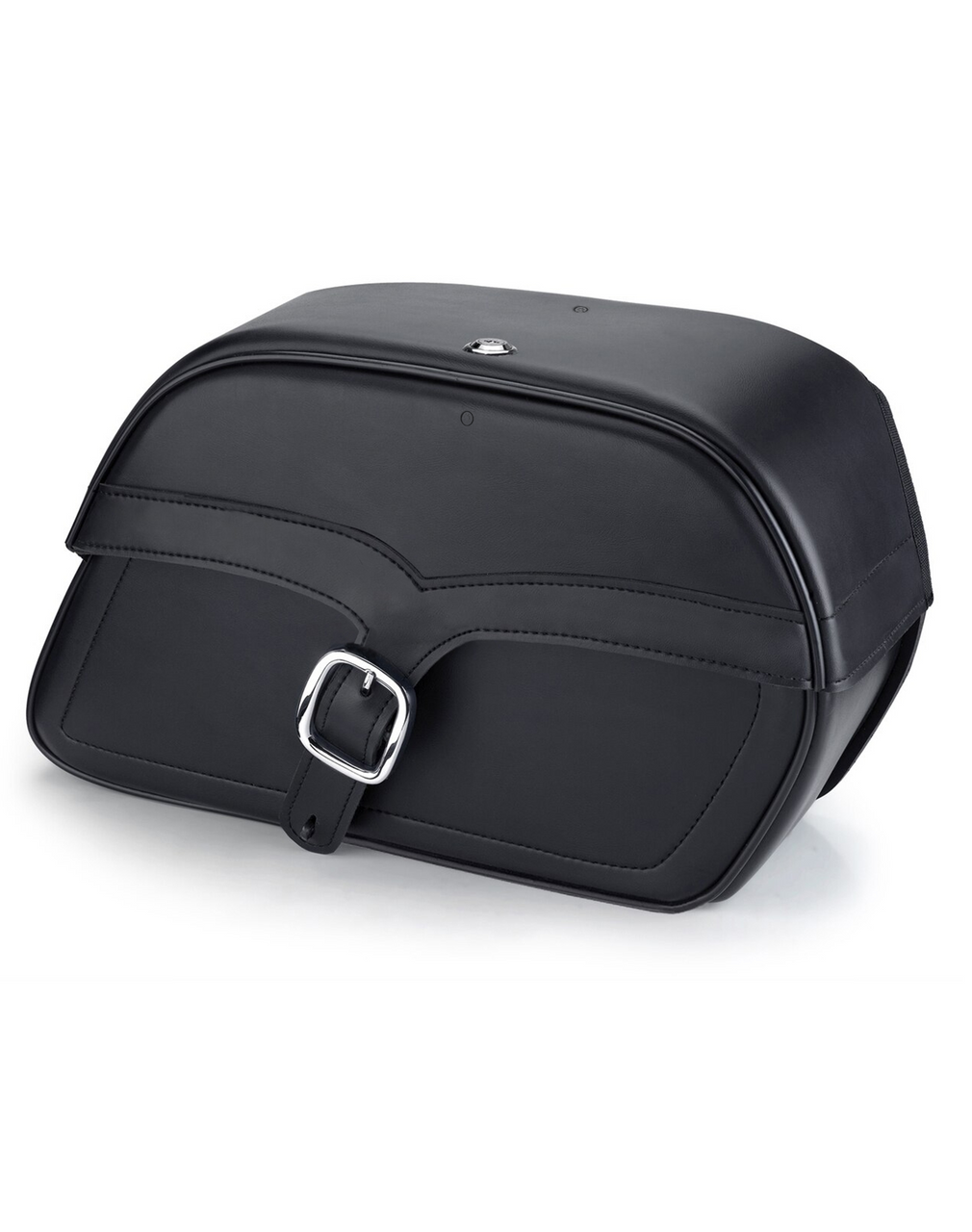 Viking Shock Cutout Single Strap Slanted Large Motorcycle Saddlebags For Harley Dyna Low Rider FXDL Main Bag View