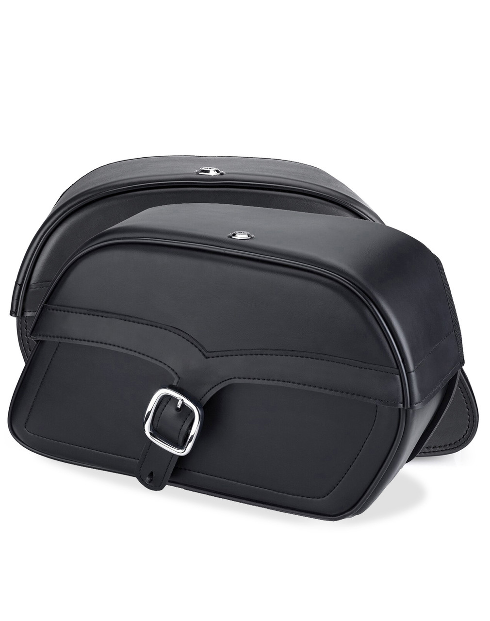 Viking Shock Cutout Single Strap Slanted Large Motorcycle Saddlebags For Harley Dyna Low Rider FXDL Both Bags View