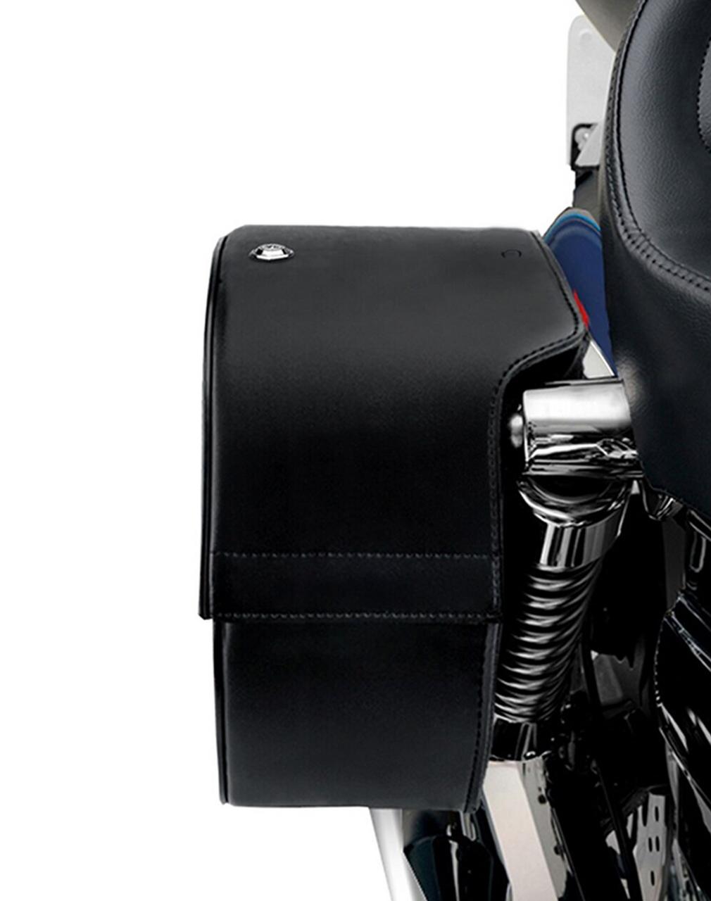 Viking Single Strap Shock Cut Slant Large Motorcycle Saddlebags For Harley Dyna Street Bob FXDB Shock Cutout View