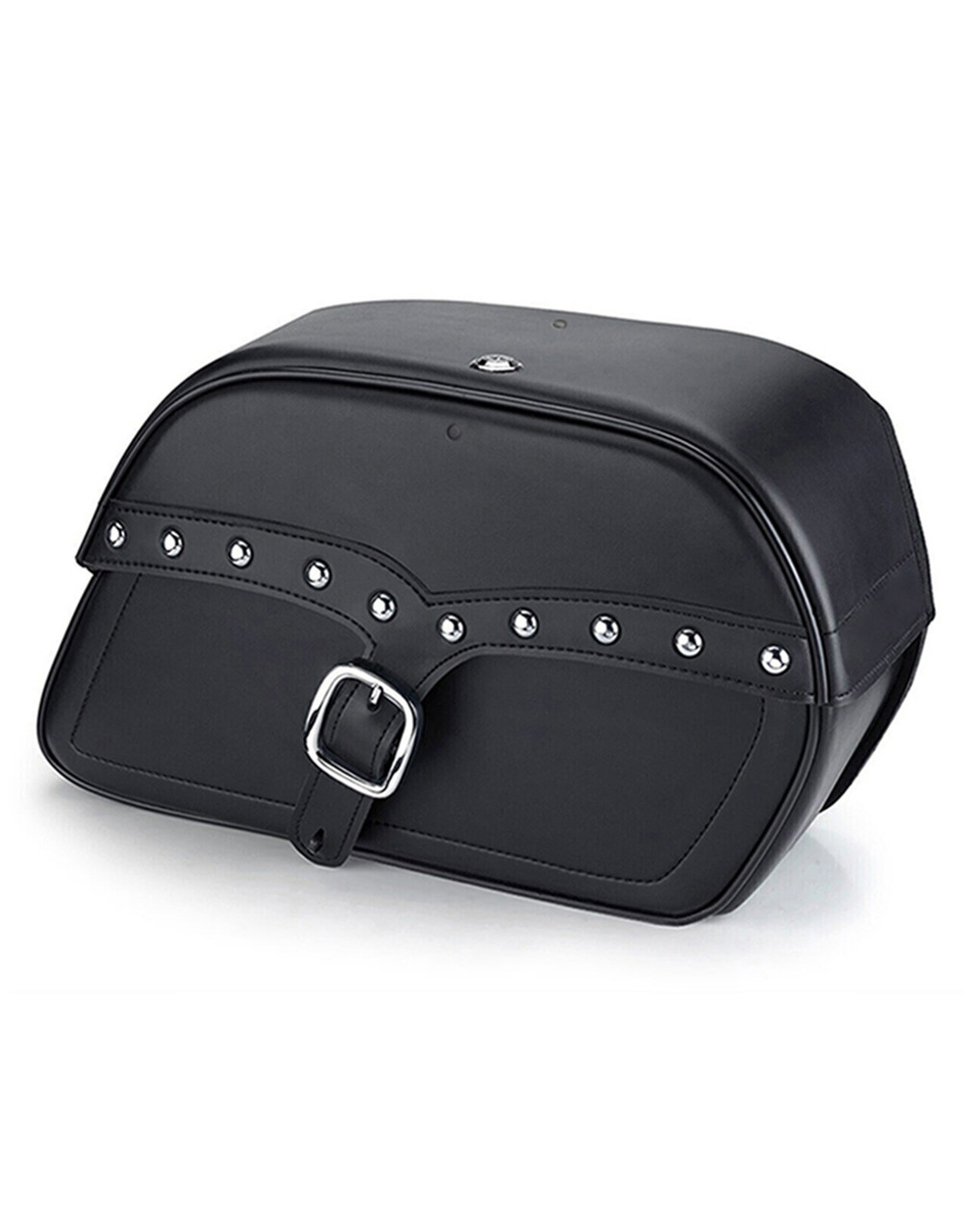 Viking Shock Cutout SS Slanted Studded Large Motorcycle Saddlebags For Harley Dyna Low Rider FXDL Main Bag View