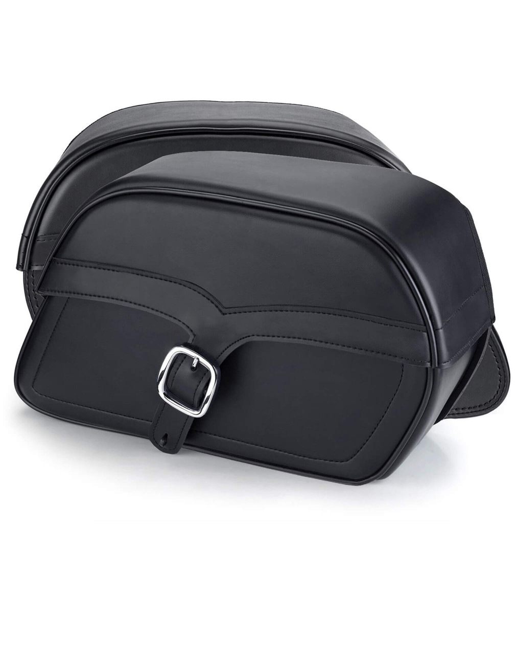 Viking Large SS Slanted Motorcycle Saddlebags For Harley Softail Night Train FXSTB Both Bags View