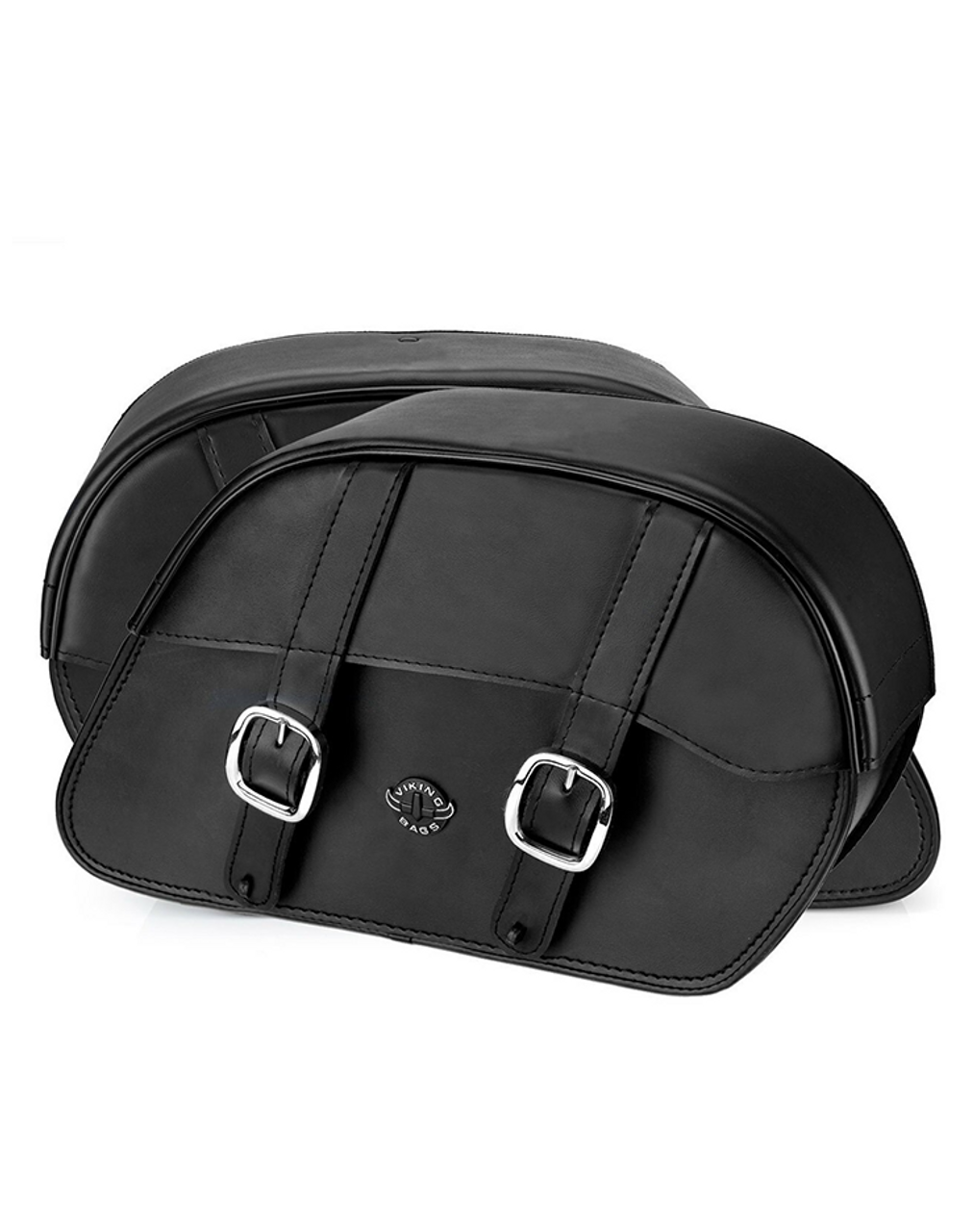 Viking Slanted Large Motorcycle Saddlebags For Harley Softail Fat Boy Lo Both Bags View