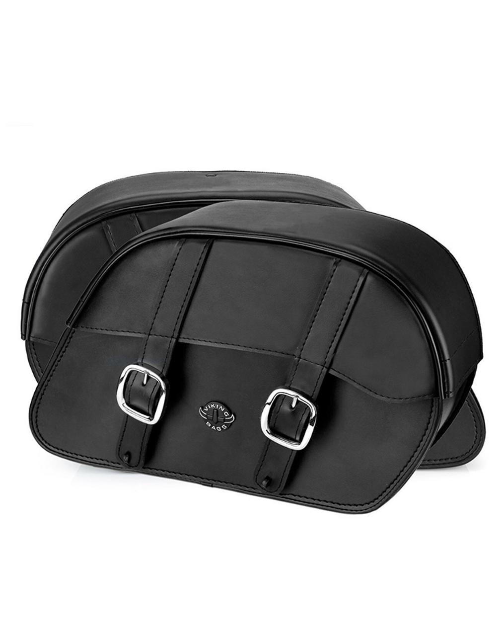 Viking Slanted Large Motorcycle Saddlebags For Harley Softail Standard FXST Both bag view