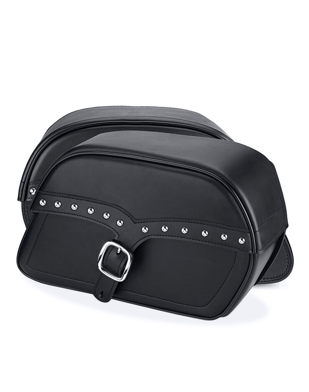 Viking Large SS Slanted Studded Motorcycle Saddlebags For Harley Softail Custom FXSTC Both Bags View