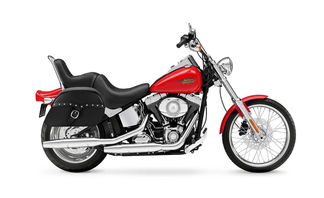 Viking Large SS Slanted Studded Motorcycle Saddlebags For Harley Softail Custom FXSTC Bag on Bike View