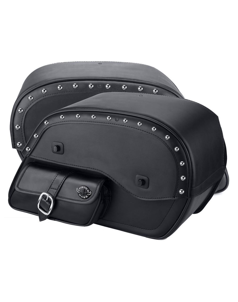 Viking SS Side Pocket Studded Large Motorcycle Saddlebags For Harley Softail Cross Bones FLSTSB both bags view
