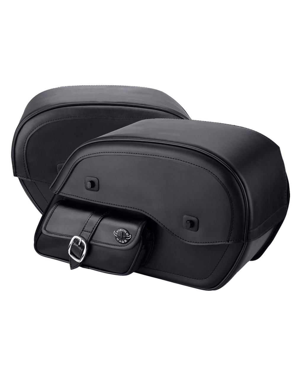 Viking SS Side Pocket Large Motorcycle Saddlebags For Harley Softail Custom FXSTC Both Bags View