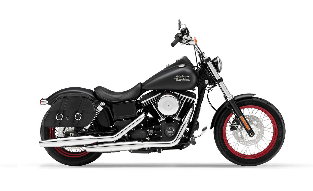 Viking Slanted Medium Motorcycle Saddlebags For Harley Dyna Street Bob FXDB Bag On Bike View