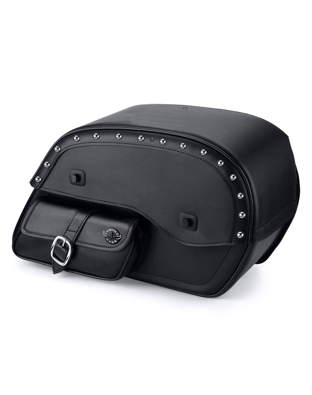 Viking SS Side Pocket Studded Large Motorcycle Saddlebags For Harley Softail Custom FXSTC Main Bag View