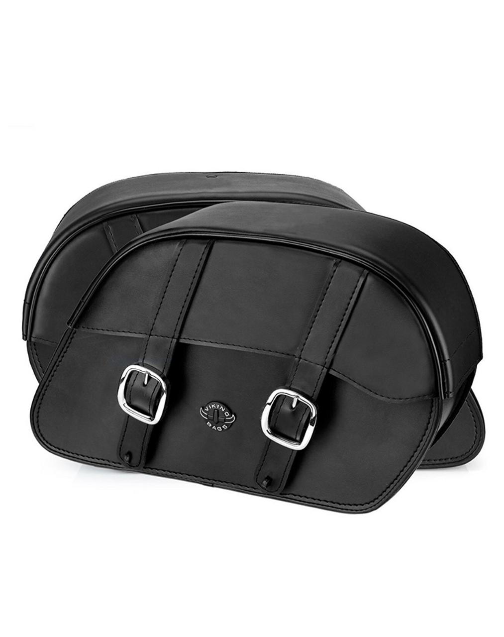 Viking Slant Medium Motorcycle Saddlebags For Harley Softail Fatboy FLSTF Both bag view