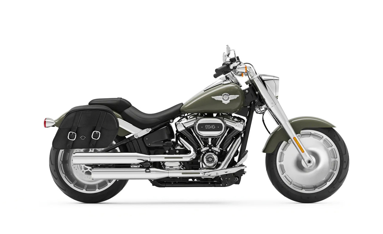 Viking Slant Medium Motorcycle Saddlebags For Harley Softail Fatboy FLSTF Bag on bike view