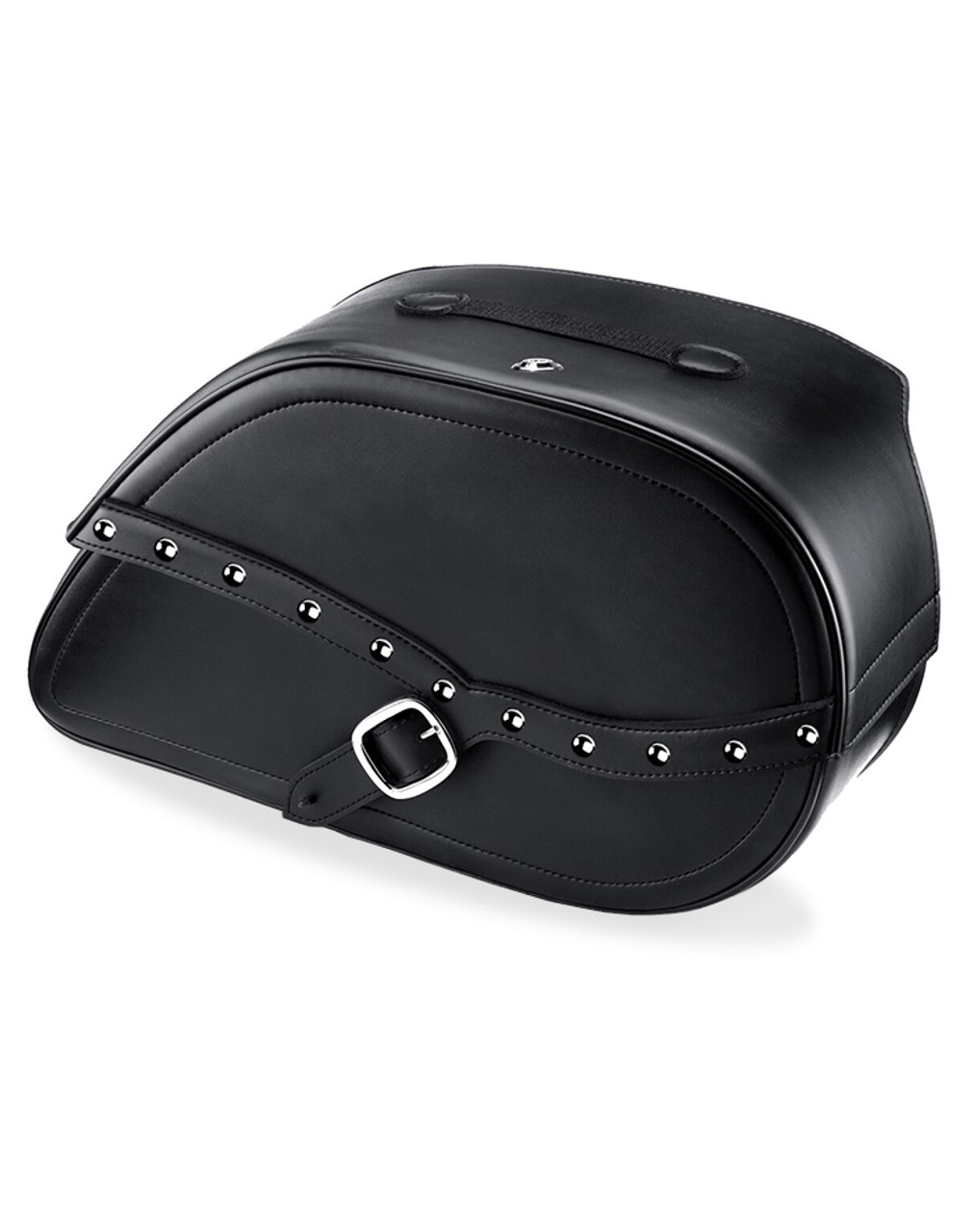Viking Armor Shock Cutout Studded Large Motorcycle Saddlebags For Harley Dyna Switchback Main Bag View