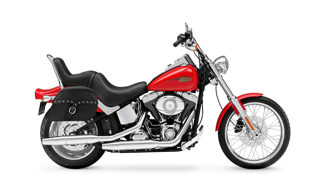 Viking Medium SS Slanted Studded Motorcycle Saddlebags For Harley Softail Custom FXSTC Bag on Bike View