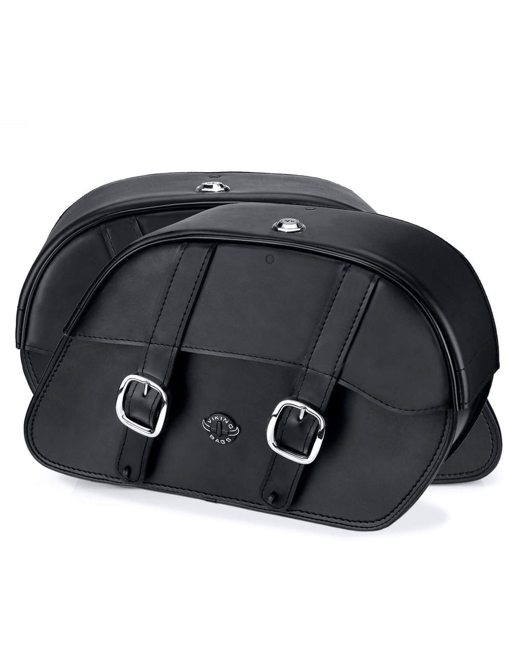Honda VTX 1300 Retro Large Shock Cutout Slanted Motorcycle Saddlebags Both Bags View