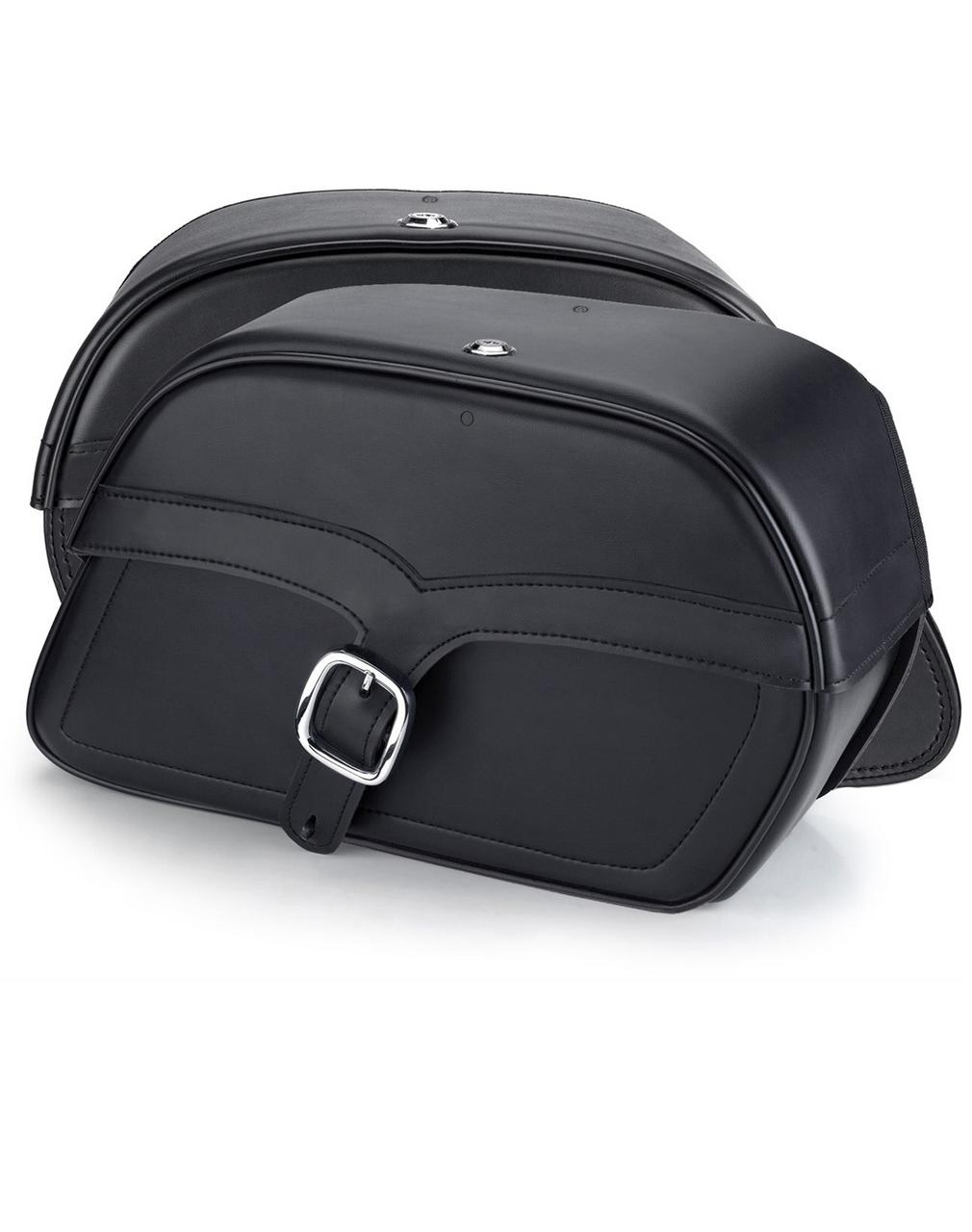 Honda 750 Shadow Aero Charger Single Strap Medium Motorcycle Saddlebags Both Bags View