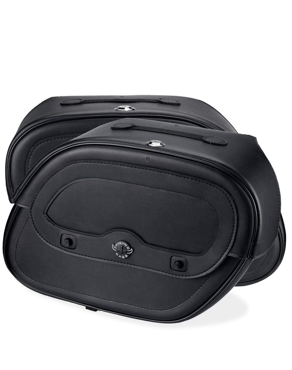 Honda 1500 Valkyrie Interstate Spear Shock Cutout Motorcycle Saddlebags Both Bags View