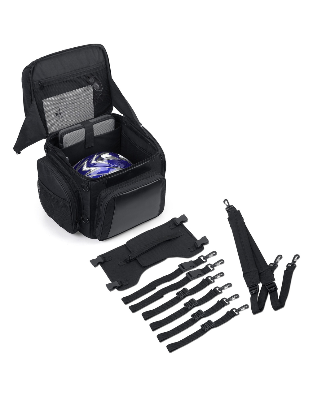 Large Back Rest Motorcycle Tail Bag (3150 cubic inches) Straps Set