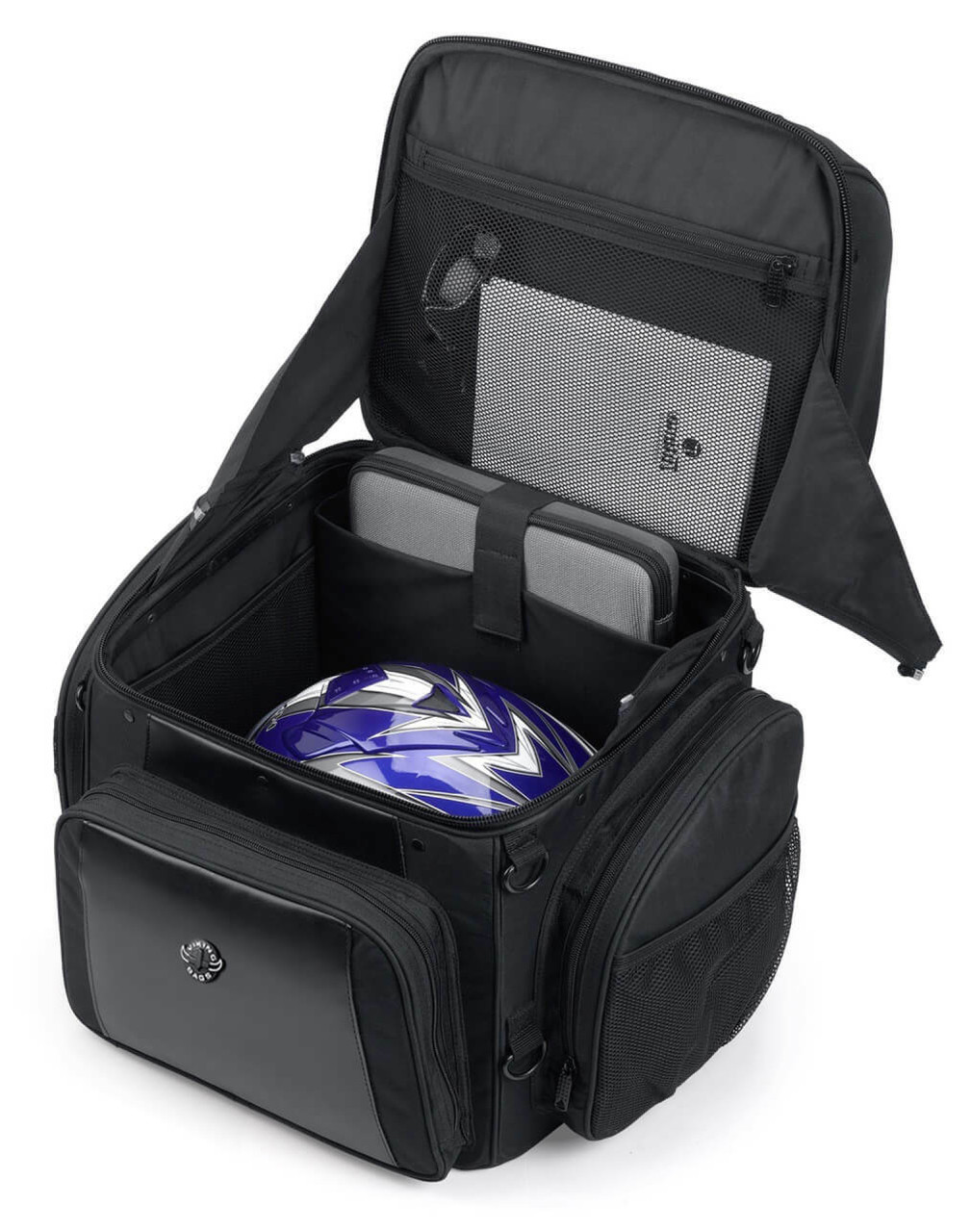 Large Back Rest Motorcycle Tail Bag (3150 cubic inches) Storage View