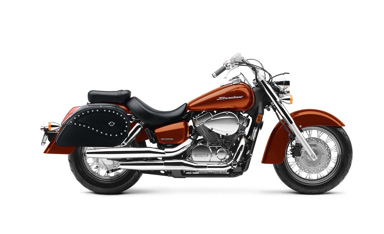 Honda 1100 Shadow Aero Ultimate Shape Studded Motorcycle Saddlebags Bag on Bike View