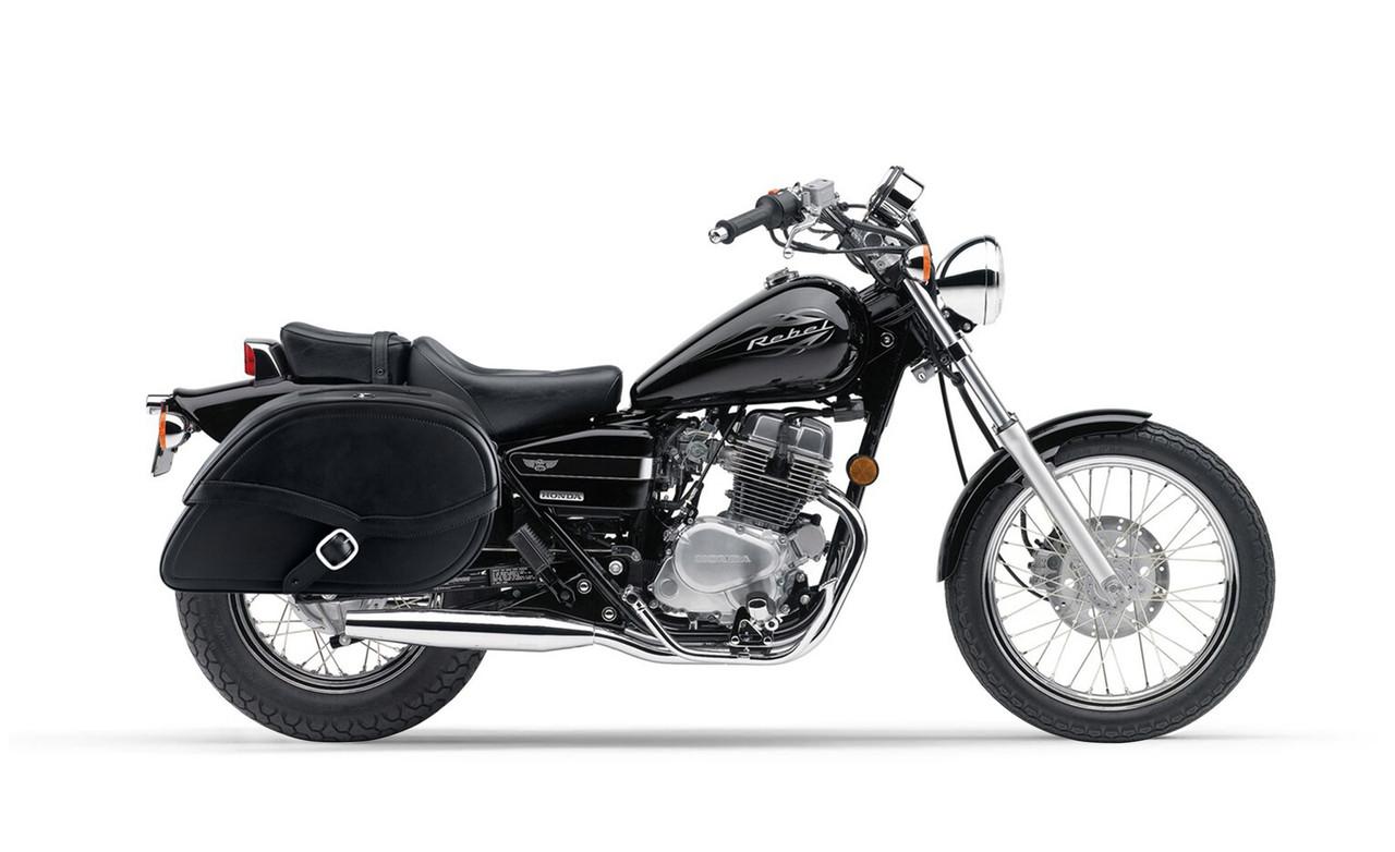 Honda CMX 250C Rebel 250 Armor Shock Cutout Motorcycle Saddlebags Bag on Bike View