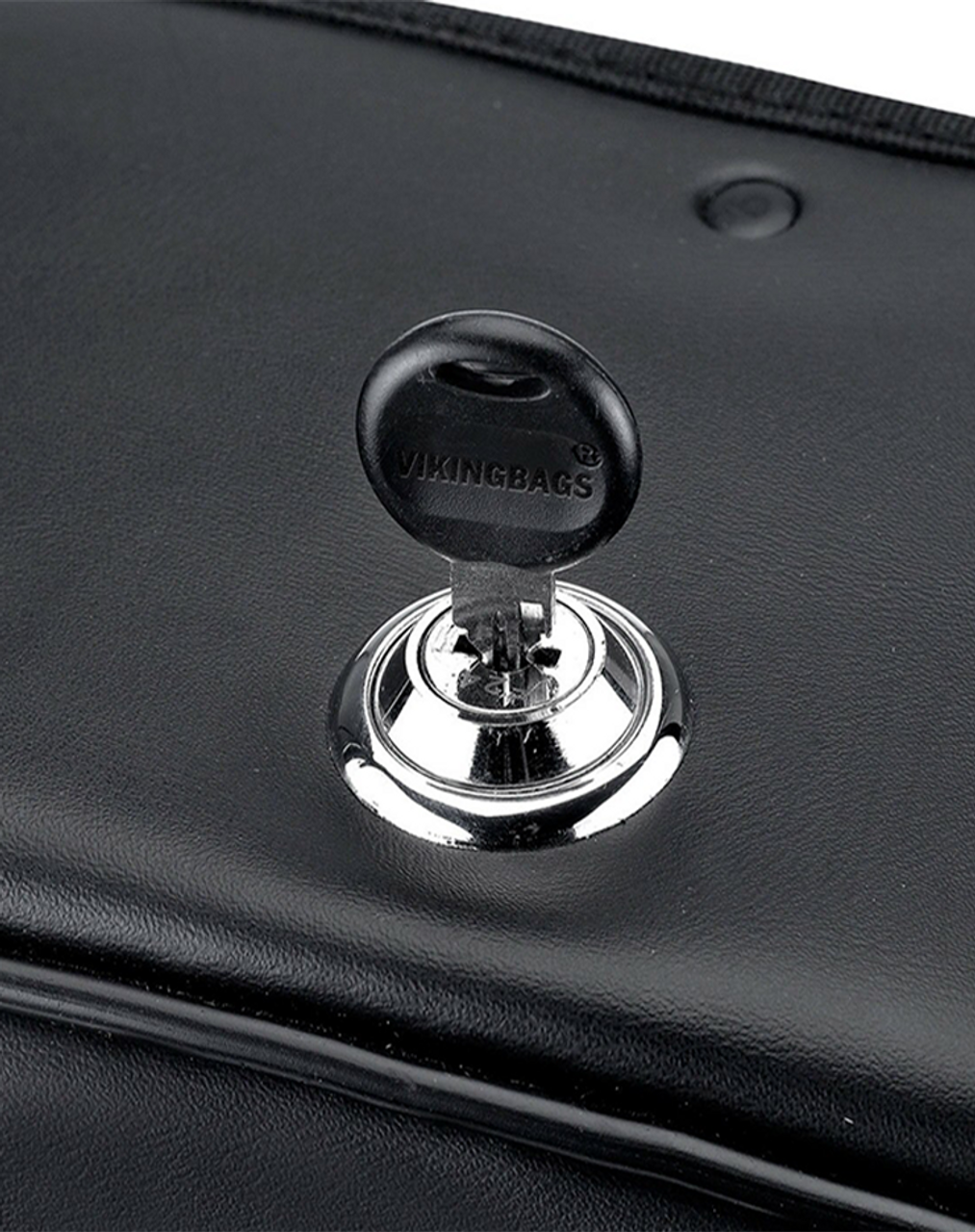 Honda VTX 1800 N Shock Cutout Slanted Studded Large Motorcycle Saddlebags Key Lock View