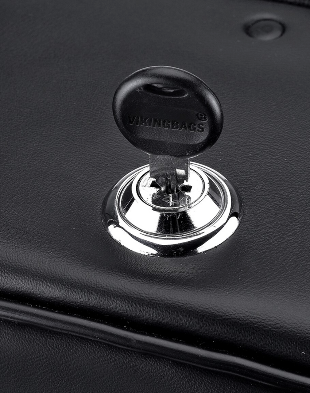 Honda VTX 1800 S SS Shock Cutout Slant Studded Large Motorcycle Saddlebags lock key view