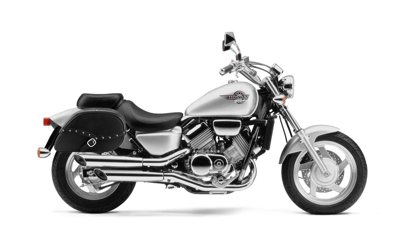 Honda Magna 750 Armor Shock Cutout Studded Motorcycle Saddlebags bag on bike view