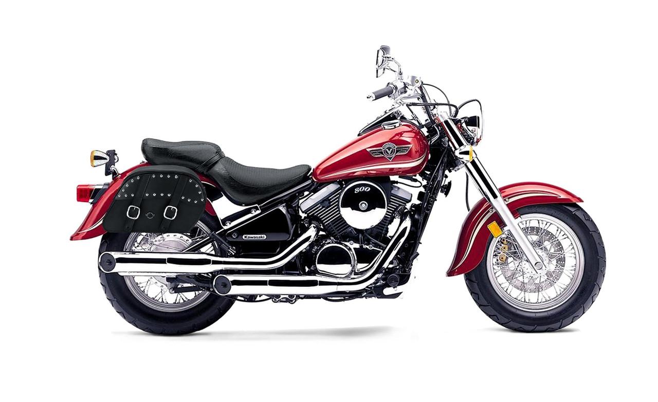 Kawasaki Vulcan 800 Classic Slanted Studded Medium Motorcycle Saddlebags Bag on Bike View