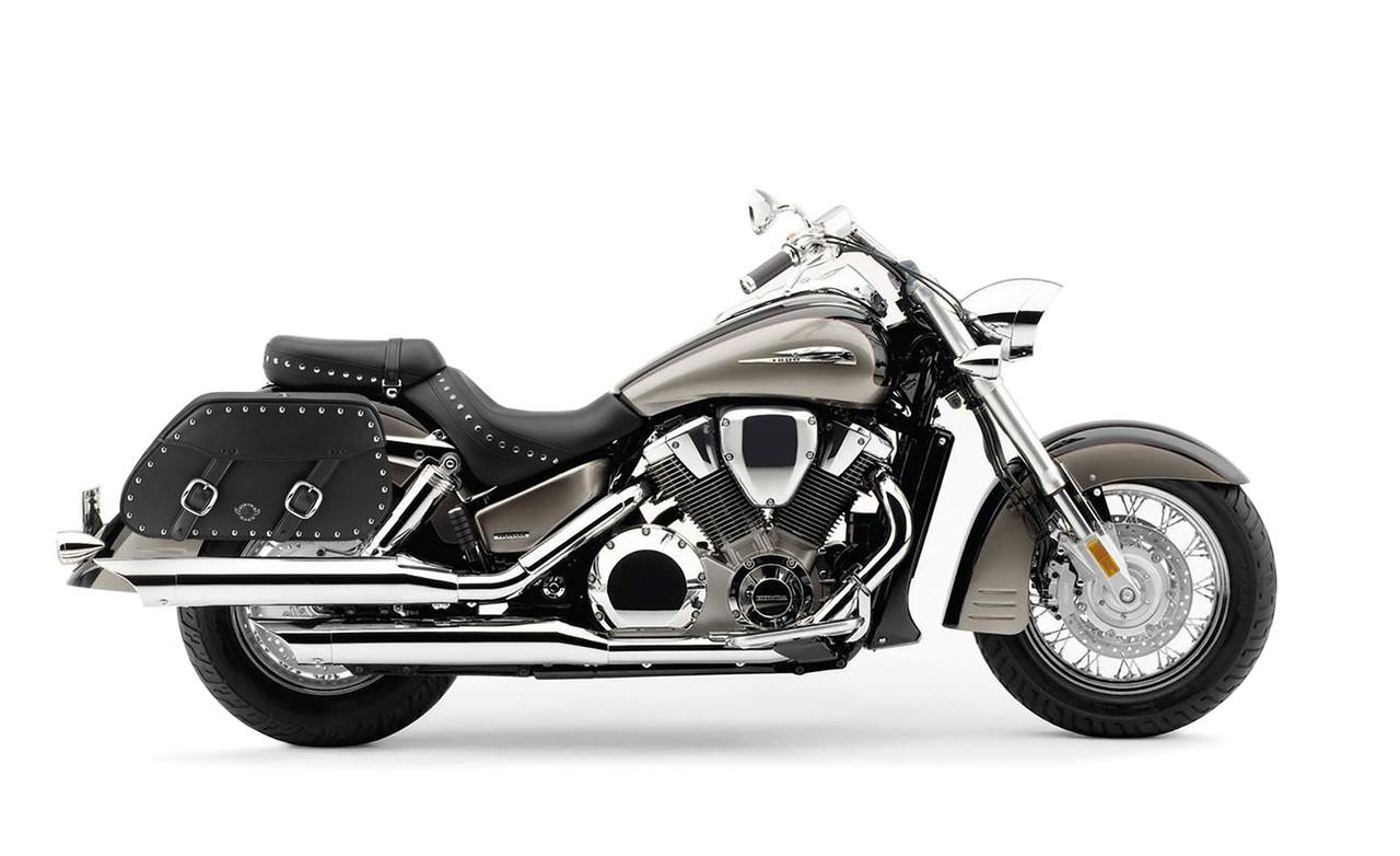 Honda VTX 1800 S Pinnacle Studded Motorcycle Saddlebags Bag On Bike View