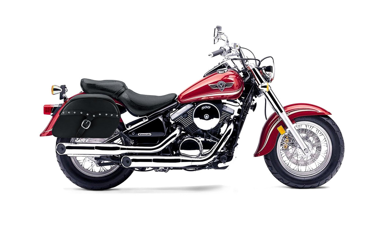 Kawasaki Vulcan 800 SS Classic Slanted Studded Large Motorcycle Saddlebags Bag on Bike View