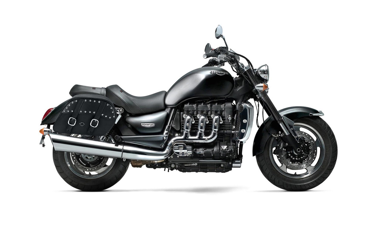 Triumph Rocket III Roadster Slanted Medium Studded Motorcycle Saddlebags Bag on Bike View