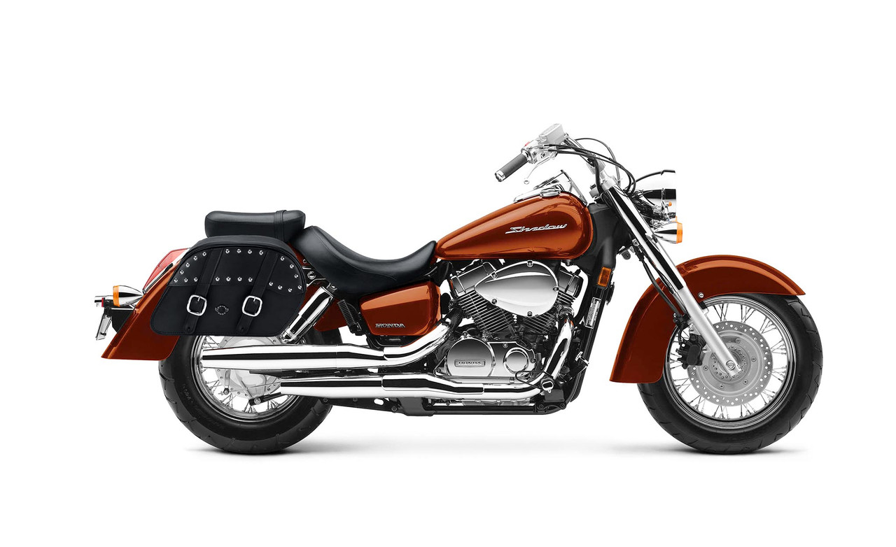 Honda 1100 Shadow Aero Slant Studded Medium Motorcycle Saddlebags Bag on Bike View